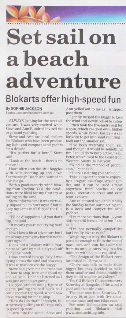Blokart and Sand Yachting Article